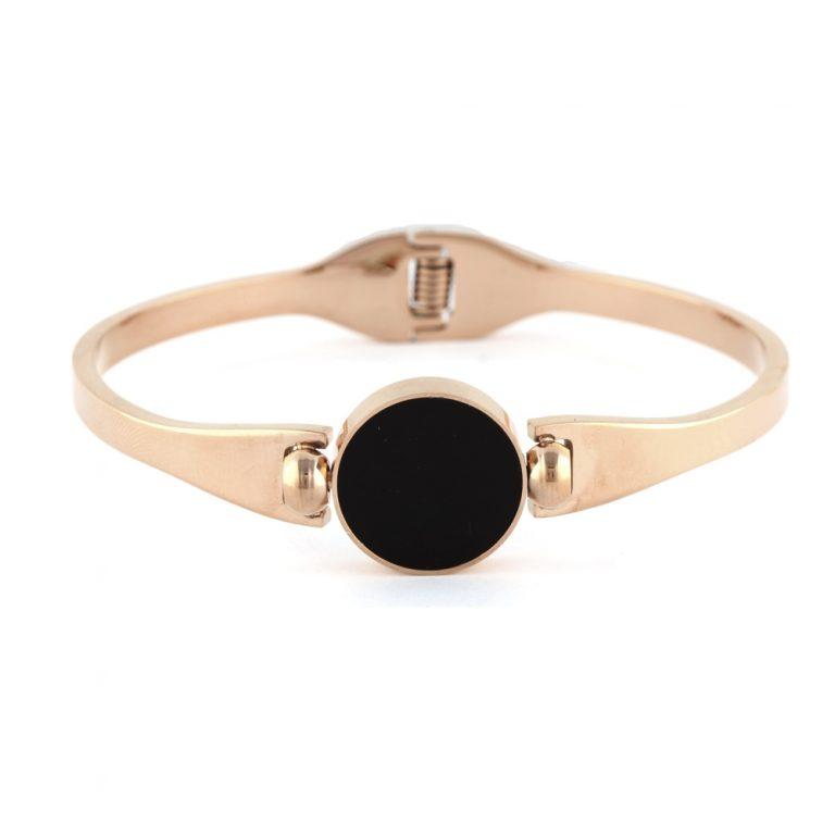 Pulseiraemaçocom círculo pedra negra