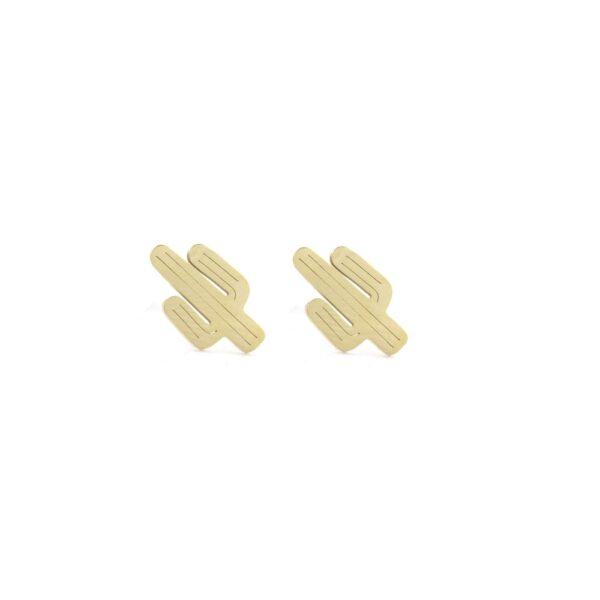 Brincos em aço dourados em forma de cactos