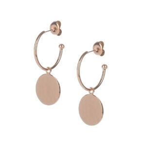 Argolas em aço rose gold com pendente circular com ligeiro relevo