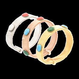 Pulseira em aço elástica com pedras de várias cores