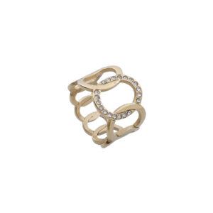 Anelem aço dourado com círculos entrelaçados e com brilhantes