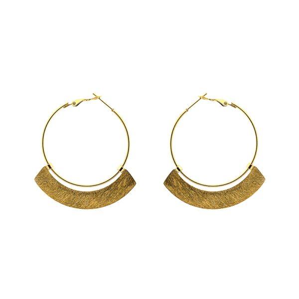Argolas em aço douradas com retângulo circular em baixo