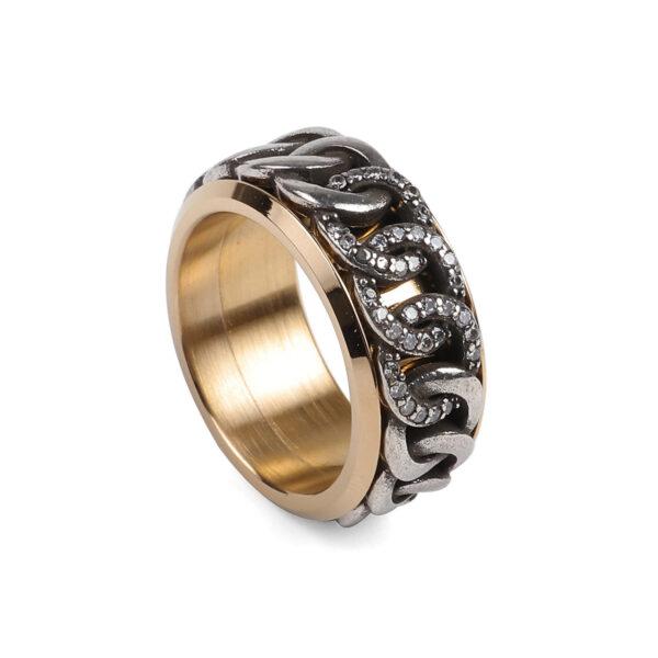 Anelem aço anti-stress dourado com círculos entrelaçados prateados com brilhantes