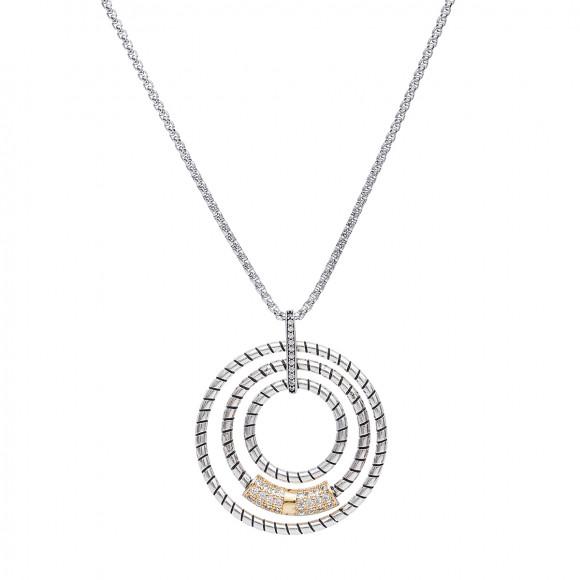 Colar em aço com pendente circular, peça dourada com brilhantes