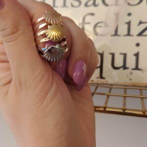 Anel ajustável em aço em forma de concha rose gold