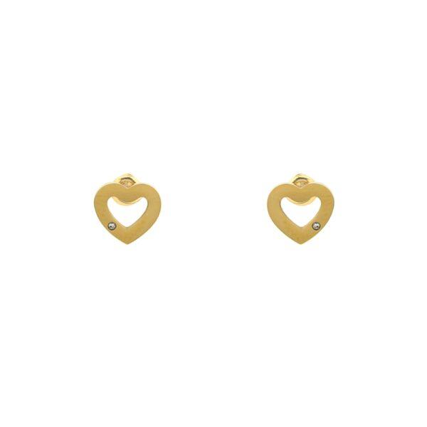 Brincos em aço dourados em forma de coração e com pequeno brilhante