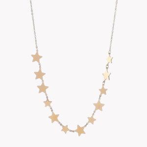 Colar em aço com estrelas no fio dourado
