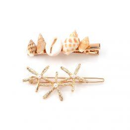 Travessões de cabelo dourados com motivos de mar