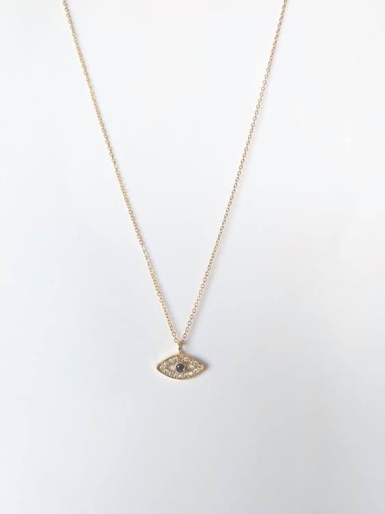 Colar com fio fino em aço e pendente em forma de olho em cobre e zircónias