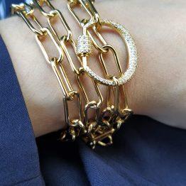Colar que se transforma em pulseira com diversas voltas, com fio em aço e pendente em cobre com zircónias
