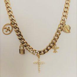Colar com fio largo em aço e pendentes em aço, cobre e zircónias