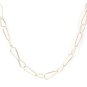 Colar em aço dourado com fio de formas ovais