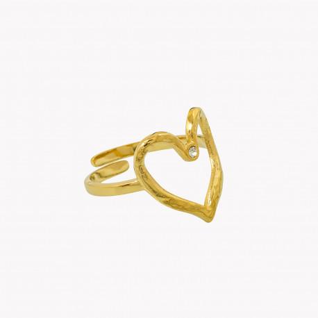 Anel em aço ajustável em forma de coração martelado com pequeno brilhante