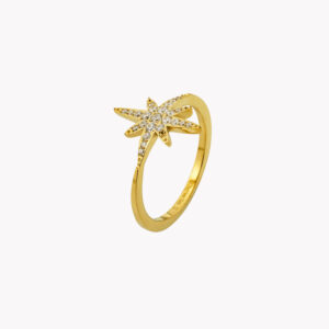 Anel em aço em forma de estrela com zircónias dourado