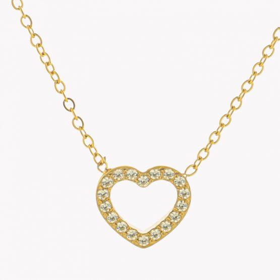Colar em aço com fio fino com pendente em forma de coração com brilhantes dourado