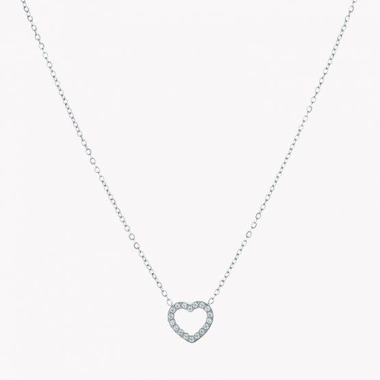 Colar em aço com fio fino com pendente em forma de coração com brilhantesprateado