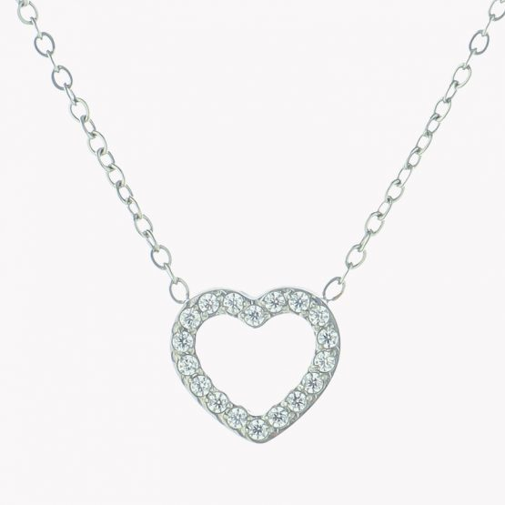 Colar em aço com fio fino com pendente em forma de coração com brilhantes prateado