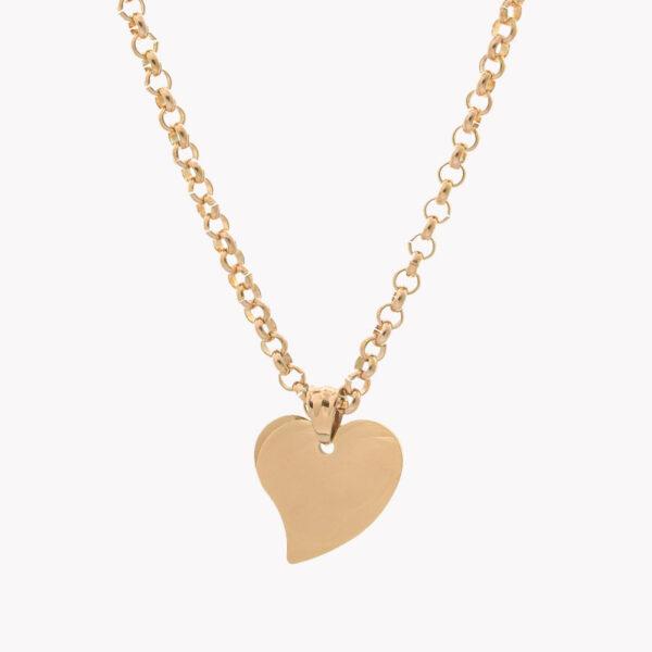 Colar em aço com fio grosso com pendente em forma de coração rose gold