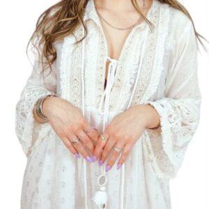Vestido comprido de algodão, bordado, branco, com transparências