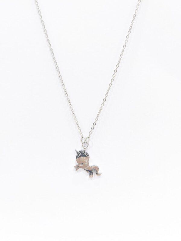 Colar em aço prateado para criança com pendente em forma de Unicórniobebé