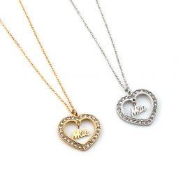 """Colar em aço com fio fino e pendente em forma de coração com brilhantes à volta e a palavra """"Mãe"""" ao centro"""