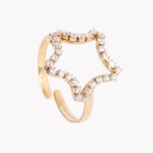 Anel ajustável em aço em forma de estrela com brilhantes, dourado
