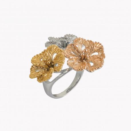 Anel em aço com grandes flores, uma dourada, uma prateada e outra rose gold