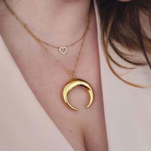 Look colar em aço com pendente em forma de lua, dourado