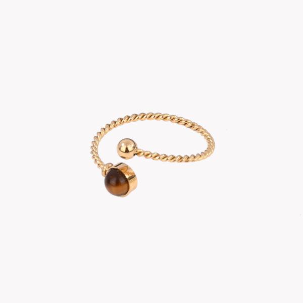 Anel ajustável dourado em aço em espiral com pedra castanha numa das pontas