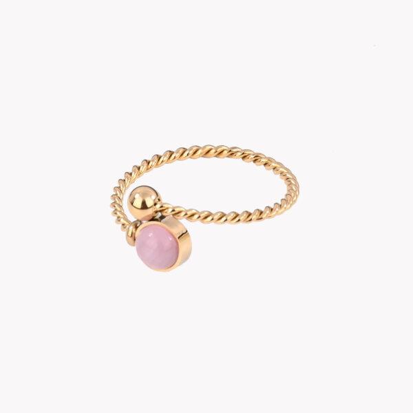 Anel ajustável dourado em aço em espiral com pedra rosa numa das pontas
