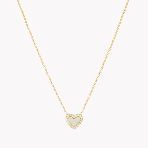 Colar em aço e pendente em forma de coração com zircónias brancas e fundo de madrepérola em dourado