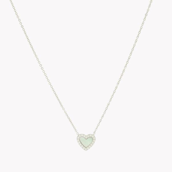 Colar em aço e pendente em forma de coração com zircónias brancas e fundo de madrepérola em prateado