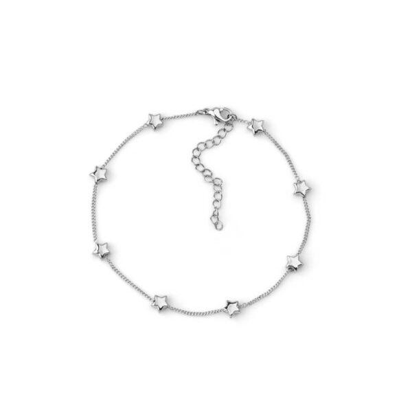 Pulseira de pé em aço com fio fino e pendentes em forma de estrelas
