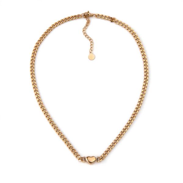 Colar em aço com fio de largura média e pendente em forma de coração dourado