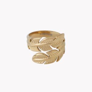 Anel em aço com duas folhas que se juntam ao centro em dourado