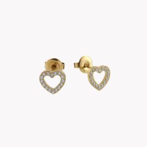 Brincos em aço em forma de coração com brilhantes cravados, em dourado